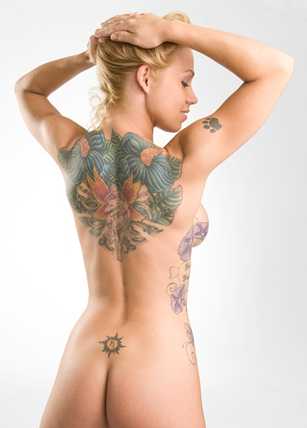 sexy back flower tattoo