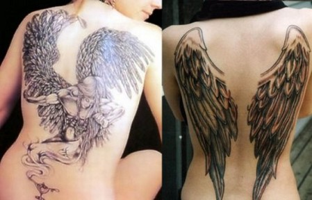 angel couple wings tattoo