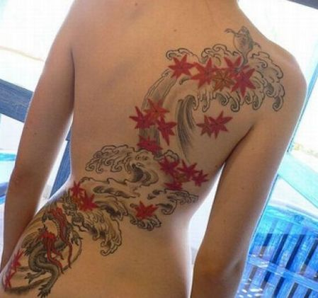 sexy chic japanese back tattoo