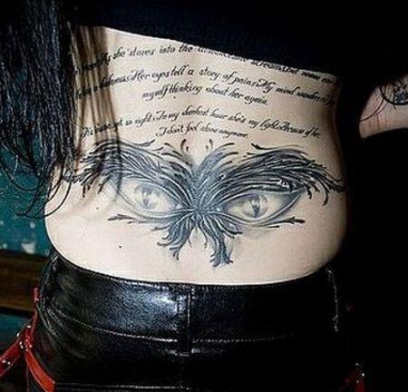 sexy eye back tattoo