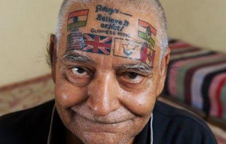 flags head tattoo